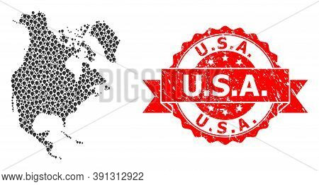 Pinpoint Collage Map Of North America And Grunge Ribbon Stamp. Red Stamp Contains U.s.a. Text Inside