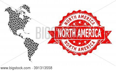 Target Mosaic Map Of South And North America And Grunge Ribbon Stamp. Red Stamp Seal Has North Ameri