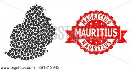 Pin Collage Map Of Mauritius Island And Grunge Ribbon Stamp. Red Stamp Seal Has Mauritius Title Insi