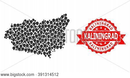 Pinpoint Collage Map Of Leon Province And Grunge Ribbon Stamp. Red Stamp Includes Kaliningrad Captio