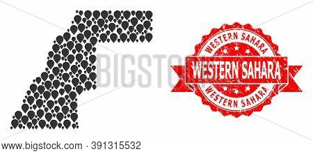 Mark Collage Map Of Western Sahara And Grunge Ribbon Stamp. Red Stamp Seal Has Western Sahara Tag In