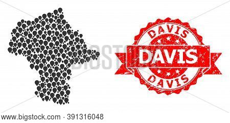 Pinpoint Mosaic Map Of Mazovia Province And Grunge Ribbon Stamp. Red Stamp Contains Davis Caption In