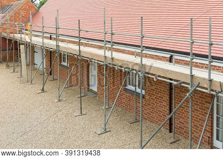 Scaffolding Outside A Uk House Extension, Barn Conversion To Single Storey Bungalow