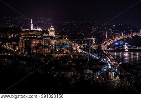 Panorama Of Buda Side And Royal Palace On The Top During The Night. Budapest, Hungary