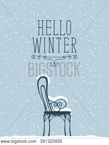 Decorative Banner With Lettering Hello Winter And A Snow-covered Chair On The Grey Background With W