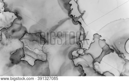 Gray Marble Texture. Natural Architecture. Watercolor Ceramic Pattern. Rock Stone Design. Grey Marbl