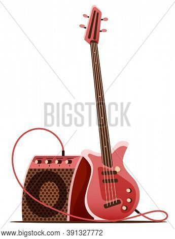 Bass guitar with amplifier for stage guitarist. Musical instrument for rock guitar player, Isolated on white background. 3D illustration.