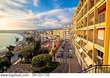City Of Nice Promenade Des Anglais And Waterfront Aerial View, French Riviera, Alpes Maritimes Depar