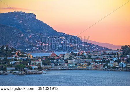Villefranche Sur Mer Idyllic French Riviera Bay And Cap Ferrat Sunrise View, Alpes-maritimes Region