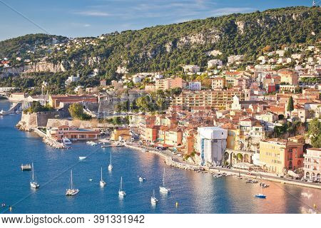 French Riviera. Villefranche Sur Mer Architecture And Coastline View, Alpes-maritimes Region Of Fran