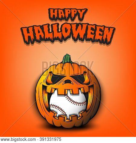 Happy Halloween. Baseball Ball Inside Frightening Pumpkin. The Pumpkin Swallowed The Ball With Burni