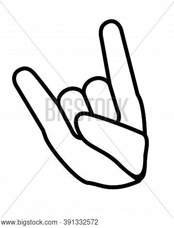 Hand Folded In Devil Horns Rock Gesture Sign - Vector Linear Illustration For Sign Or Pictogram. A H