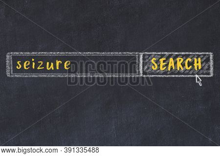 Concept Of Looking For Seizure. Chalk Drawing Of Search Engine And Inscription On Wooden Chalkboard
