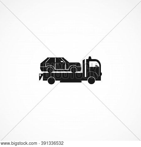 Tow Truck With Car Isolated Solid Vector Icon