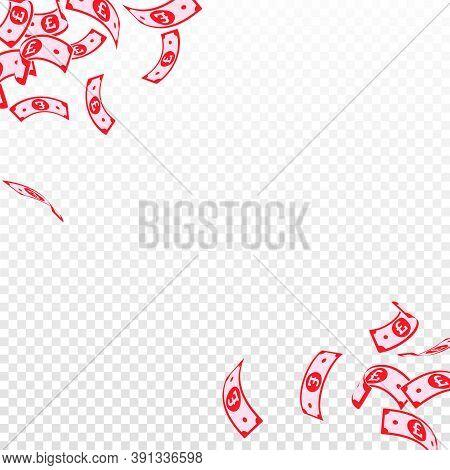 British Pound Notes Falling. Floating Gbp Bills On Transparent Background. United Kingdom Money. Aut