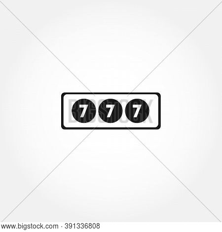 Jackpot Casino Slot 777 Isolated Solid Vector Icon