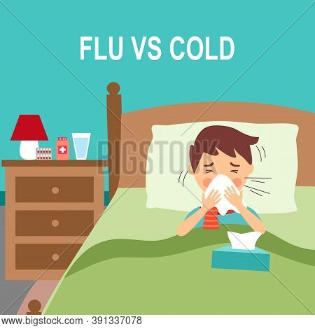 A Boy Children Suffering From Flu In Bed Under Blanket. Sad Kids Sneezing In Handkerchief Or Tissue