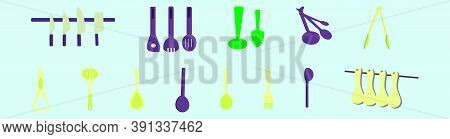 Set Of Wood Spoon, Cleaver And More Cartoon Icon Design Template With Various Models. Vector Illustr