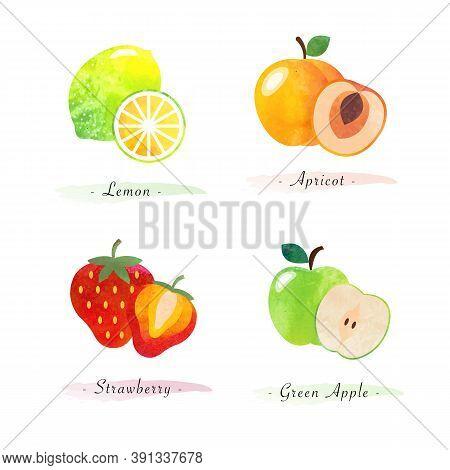 Organic Nature Healthy Food Fruit Lemon Apricot Strawberry Green Apple