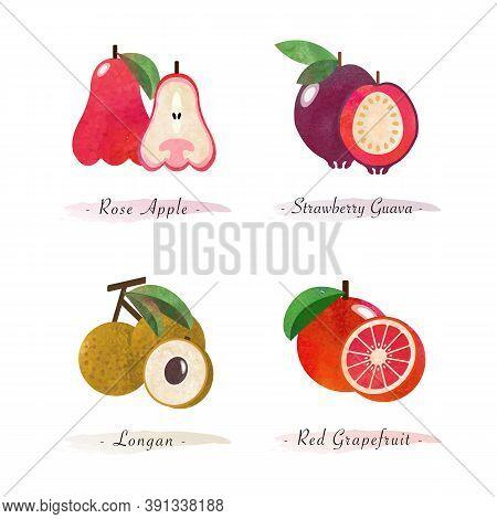 Organic Nature Healthy Food Fruit Rose Apple Strawberry Guava Longan Red Grapefruit