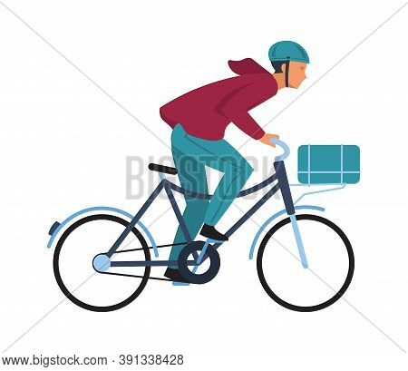 Cartoon Man On Bicycle. Simple Character In Casual Clothes And Helmet Rides On Bike, Cyclist Guy Spo