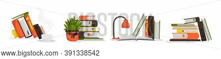 Books. Stack Of Publications, Science And Fiction Literature. Schoolchild Or Student Workplace. Pile