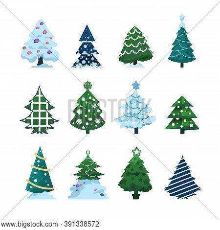 Christmas Fir. Cartoon Xmas Evergreen Tree Holiday Symbol For New Year Greeting Cards, Winter Festiv