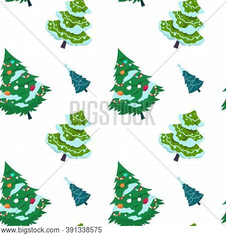 Christmas Tree Pattern. Seamless Print Of New Year Fir And Spruce Decorated With Garlands And Snow.