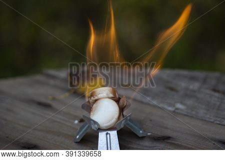 Alcohol Burner. Combustion Of Dry Alcohol. Small Flame.