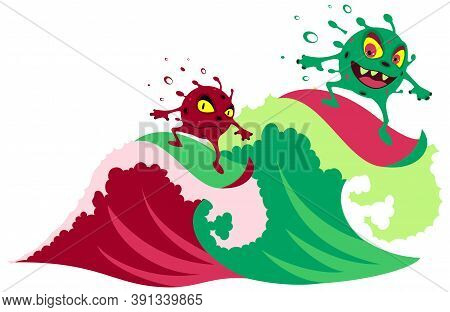 Second Wave Of Coronavirus Disease Covid 19. Two Particles Of Virus Surf On Wave. Isolated On White