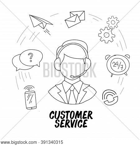 Hand Drawn Vector Illustration Of A Call Center Service. Suitable For Design Elements From Customer