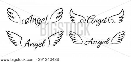 Cartoon Flying Angel Wings. Cute Angelic Emblem With Calligraphic Text. Collection Of Isolated Signa