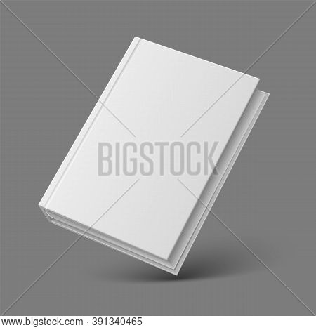 Realistic Book Or Booklet. 3d Mockup Closed Diary With Blank Hard Cardboard Cover. Textbook Template