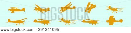 Set Of Biplane Cartoon Icon Design Template With Various Models. Vector Illustration Isolated On Blu
