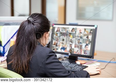 Business Women Are Using Computer Laptop For Video Call With Conference Program Concepts Of Online M