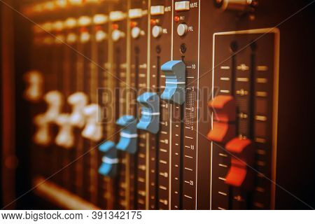 Close-up Audio Mixer In Studio For Recording Editor Equipment And Instrument Sound Broadcasting Conc