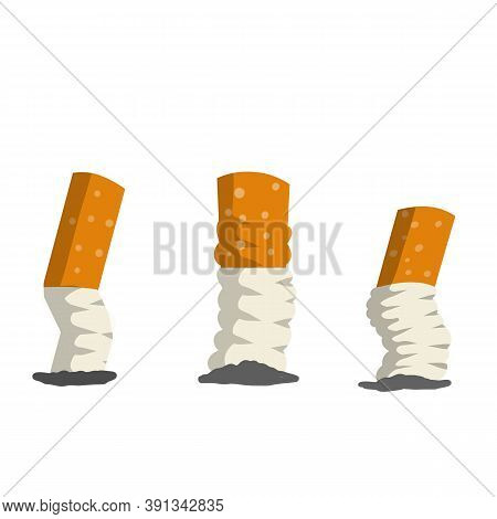 Cigarette Butt. Set Of Trash, Dirt And Garbage. Small Object. Cartoon Flat Illustration. Bad Harmful