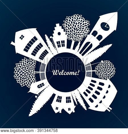 Small Town Cutout Silhouette Skyline Fish-eye Stylized Isolated White On Dark Vector. Square Welcome