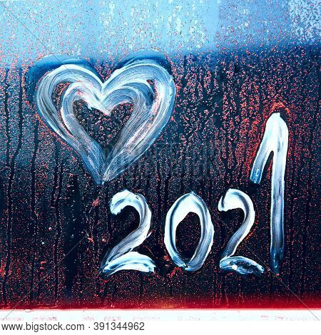 Abstract Background New Year Number 2021. Happy New Year 2021. New 2021 Brings Up Love.inscription 2