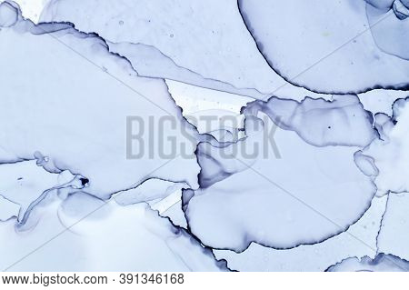 Alcohol Ink Landscape. Grey Water Page. Sophisticated Illustration. White Abstract Color. Shadows Ca