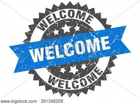 Welcome Grunge Stamp With Blue Band. Welcome