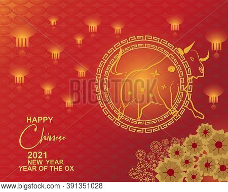 Chinese New Year 2021 Year Of The Ox , Red And Gold Lanterns,flower And Asian Elements With Craft St