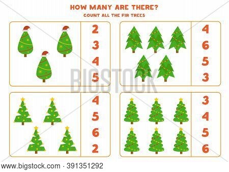 Count All Christmas Trees. Math Game For Preschool Children.
