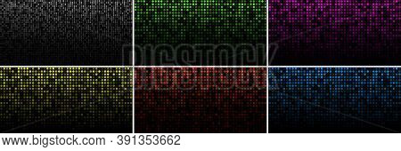 Set Of Colorful Technology Horizontal Luminous Backgrounds. Gradient Grey Digital Glow Pixel Circle