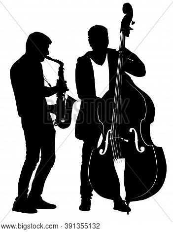 Silhouettes Of Street Musicians Performing Musical Composition On Saxophone And Cello - Vector Illus