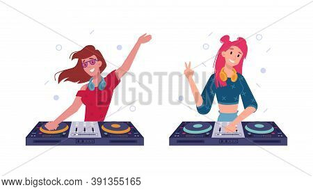 Dj Girls Play Music In Headphones, Spinning Discs At Turntable, Isolated Flat Set. Dj Girl Or Woman