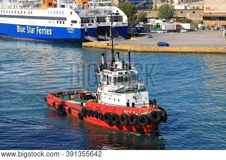 Piraeus, Greece - October 15:  Tug Boat Ifestos 2 Is Pictured In The Port Of Piraeus, Greece, On Oct