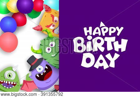 Happy Birthday Vector Banner Template. Happy Birthday Text In Purple Empty Blank Space For Messages