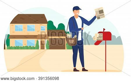 Mail And Correspondence Delivery Concept. Postman Putting Mail In A Mailbox. Flat Cartoon Vector Ill