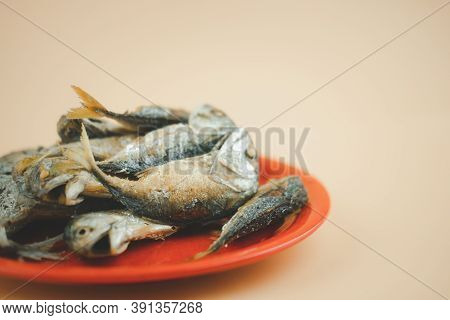Fried Mackerel Or Pla Two Fish. The Fried Mackerel Is Local Traditional Thai Dish. Fried Pla Two Is